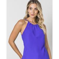 Blusa Alças Finas Com Pregas Decote - Feminino-Azul