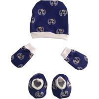 Kit Touquinha Luvinhas E Sapatinhos Bebê Recém Nascido Estampa Ursinho Príncipe Azul Calupa