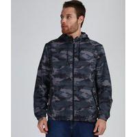 Jaqueta Corta Vento Masculina Estampada Camuflada Com Capuz E Bolsos Chumbo