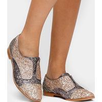 Oxford Shoestock Glitter - Feminino-Roxo