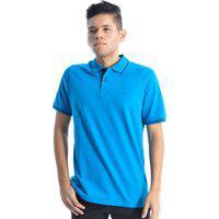 Camiseta Masculina Gola Polo Manga Curta Slim Ogochi Azul Petróleo