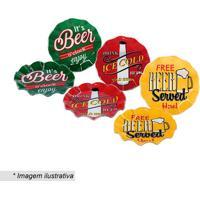 Conjunto De Petisqueiras Beer- Verde & Vermelho- 3Pçdecor Glass