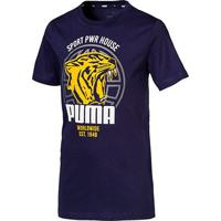 Camiseta Infantil Puma Alpha Graphic Manga Curta Masculina - Masculino-Marinho
