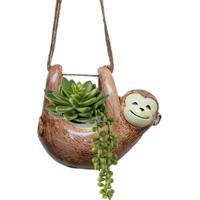 Vaso Cachepô Pendente Em Cerâmica Macaco