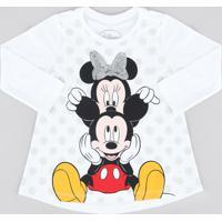 Blusa Infantil Minnie E Mickey Com Paetê Manga Longa Decote Redondo Off White