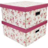 Jogo De Caixa Organizadora Quadrada G Floral- Bege & Verboxmania