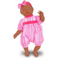 Boneca Bebê - Baby By Jensen - Negra - Macaquinho Rosa Listrado - Roma Jensen