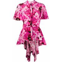 Alexander Mcqueen Saia Assimétrica Com Estampa Floral - Rosa