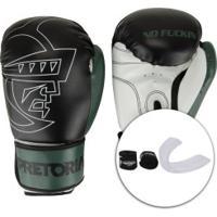 Kit De Boxe Pretorian: Bandagem + Protetor Bucal + Luvas De Boxe First - 14 Oz - Adulto - Preto/Verde Escuro