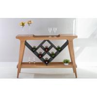 Aparador Com Gourmet Adega Bar De Madeira Com Tampo Espelhado Pubi 130X33X90Cm - Verniz Amêndoa E Grafite