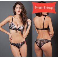 Conjunto Lingerie Floral Com Renda da74aac463b