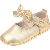 Sapato Doce Bebê Em Couro Dourado