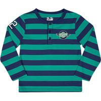 Camiseta Listrada Com Patch- Verde ÁGua & Azul Marinhotip Top