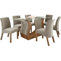 Conjunto De Mesa 1.70M Com 6 Cadeiras Fortuna Castanho Tecido Tecido Veludo Pena Bege Lj Móveis