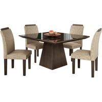 Conjunto De Mesa Pietra 0.90M Com Vidro Serigrafado Preto Com 4 Cadeiras Pietra Chocolate Premio Tecido Veloart Bege Lj Móveis