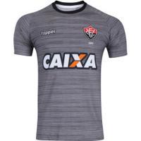 Camisa De Treino Do Vitória Comissão Técnica 2017 Topper - Masculina - Cinza Escuro/Preto