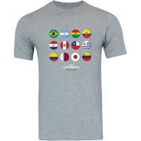 Camiseta Adams Básica Futebol - Masculina - Cinza - Bandeiras Copa América 2019 - Cinza
