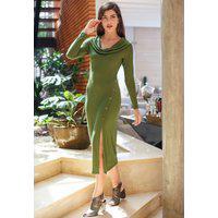 Vestido Midi Ombro Reto Pala Verde