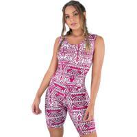Macaquinho Mvb Modas Liso Suplex Fitness Academia Ginástica Curto Espelhado Rosa