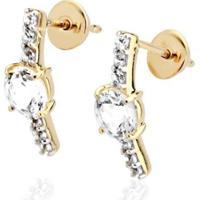 Brinco Em Ouro Com Topázios - Coleção Felizes Para Sempre - Br17022 Casa Das Alianças Feminino - Feminino-Dourado
