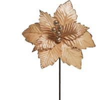 Flor Natalina Artificial Poinsettia Cabo Curto Nude 25Cm 1Pç