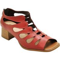 Sandália D&R Shoes Couro Feminina - Feminino-Vermelho