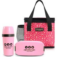 Kit 3 Peças Pote Marmita Bolsa Necessaire Térmica E Garrafa Jacki Design Pink