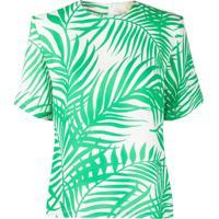 Sara Battaglia Palm Leaf Printed Crepe Blouse - Verde