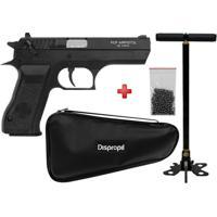 Pistola De Pressão Pcp Kwc P45 4.5Mm + Bomba Manual Hatsan + Esferas De Aço + Brinde Capa Simples - Unissex