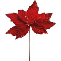 Flor Natalina Artificial Poinsettia Cabo Curto 30Cm Vermelha