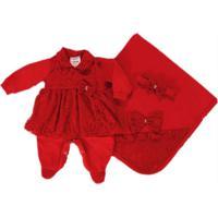 Kit I9 Baby Saída De Maternidade 4 Peças Isabeli Renda Vermelho