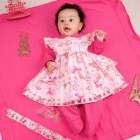 Saída De Maternidade Fofinho Malha Com Vestido Paris Rosa