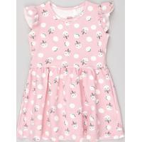 Vestido Infantil Estampado De Poá E Unicórnios Sem Manga Rosa