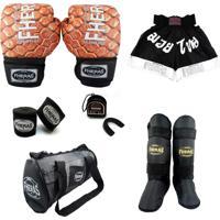 Kit Fheras Muay Thai Top - Luva + Bandagem + Bucal- Caneleira - Bolsa - Shorts - 14 Oz Cobra 3
