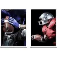 Quadro Oppen House 60X80Cm Esporte Duo Futebol Americano Jogadores Moldura Branca S/Vidro
