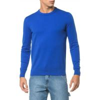 Sweater Ckj Masculino Logo - Azul Royal Sweater Ckj Masculina Logo Azul Royal - M