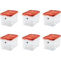 Kit Com 6 Caixas Organizadoras Plus Vermelho 40 L