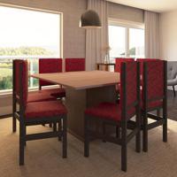 Conjunto De Mesa E Cadeira De Jantar 130X130 Cm Tabaco Vermelho