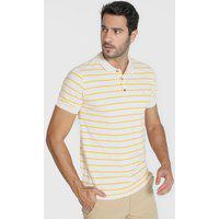 Camisa Polo Reserva Reta Listrada Bicolor Amarela