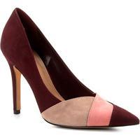 Scarpin Couro Shoestock Salto Alto Nobuck Recortes - Feminino-Vinho