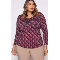 Blusa Almaria Plus Size Pianeta Estampada Vermelho