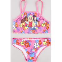 Biquíni Infantil Barbie Estampado Floral Proteção Uv50+ Rosa