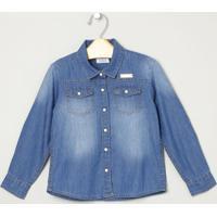 Camisa Jeans Com Bolsos- Azul- Milonmilon