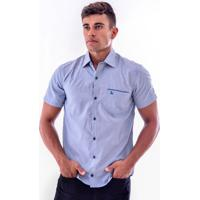 Camisa Social Masculina Dust Slim Azul