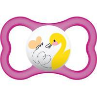 Chupeta Air Silk Touch Girls - Acima De 6 Meses- Patinho - Mam Chupeta Air Silk Touch Girls - Feminino-Rosa