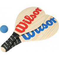Kit De Frescobol Wilson: 2 Raquetes E 1 Bolinha - Marrom Cla/Azul Esc