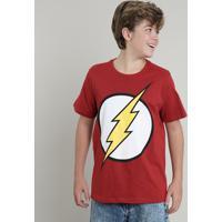 Camiseta Juvenil The Flash Manga Curta Gola Careca Vermelha
