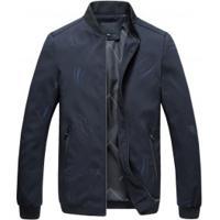 Jaqueta Bomber Masculina Estampada Com Zíper - Azul Escuro