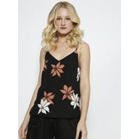 Blusa Floral Com Recortes- Preta & Rosa- Milioremiliore
