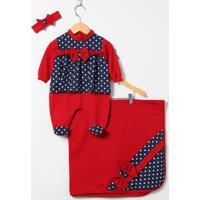 Saída Maternidade Poá - Vermelho & Azul Escuro - 3Pçtieloy